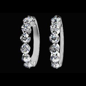 3 carat diamonds hoop earrings lady jewelry solid